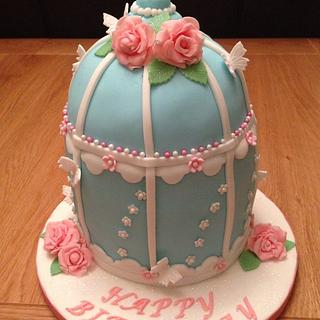 Birdcage cake with flowers & butterflies