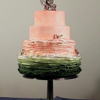 Butterfly Blush Wedding cake