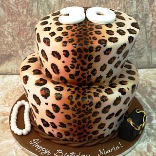 Leopard print topsy turvy cake