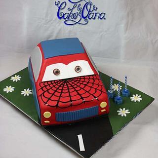 Cute spiderman car cake