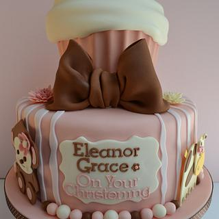 two tier modern christening cake