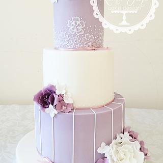 Lilac and ivory wedding cake  - Cake by Laura Davis