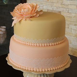Peony with Lace - Cake by Karina Skotkova
