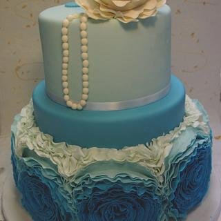 Blue ruffles wedding cakes - Cake by Alessandra