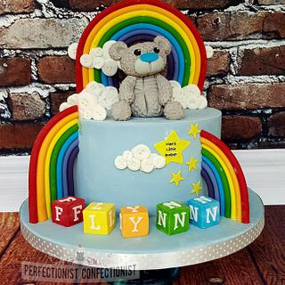 Flynn - Rainbows, bears and blocks. Naming Day Cake