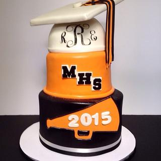 Monogramed High School Graduation Cake - Cake by Patty Cakes Bakes