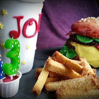 burger chips and soda cake