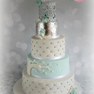 Silver and Blue Wedding Cake