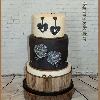 Chalkbord and wood wedding cake - Cake by Karen Dodenbier