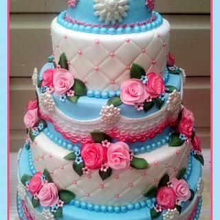 Weddingcake babyblue, pink and white - Cake by Sam & Nel's Taarten
