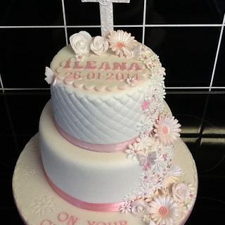 Cascading flower christening cake - Cake by Berns cakes