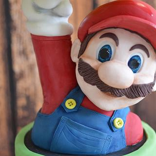 Super Mario block busting cake.