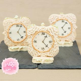 Antique Royal Icing Lace Clock Cookies