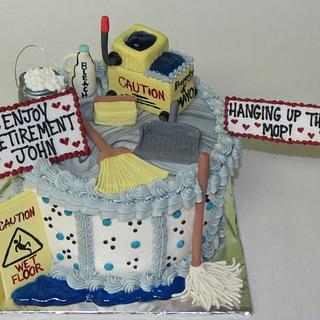 Retirement cake for a janitor.
