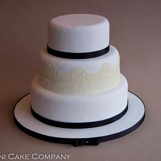 Black and White Wedding Cake With Edible Sweet Lace