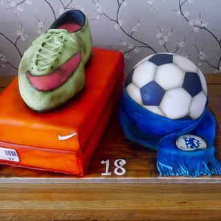 Football themed 18th birthday cake - Cake by Daisychain's Cakes