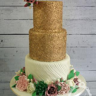 Gold Sequins and Pleats Wedding Cake