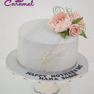 Grey - Peach Flower Topped Cake - Cake by Caramel Doha