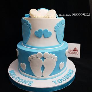 Baby blue baby shower cake  - Cake by Simo Bakery
