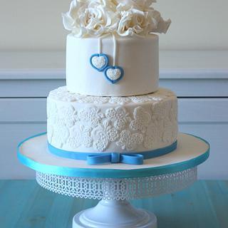 """Something blue"" wedding cake - Cake by Anastasia Krylova"