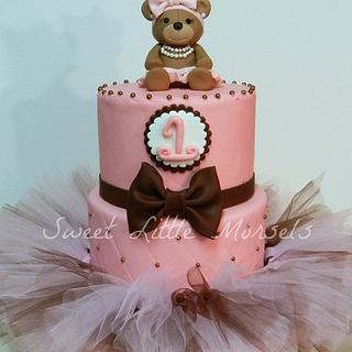 Girly 1st Birthday Tutu Cake