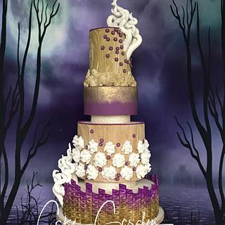 Aqua-chique wedding cake