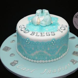 Christening Cake with Edible Lace Icing