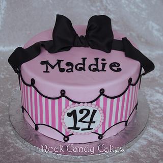 Pink and White Stripe Birthday Cake