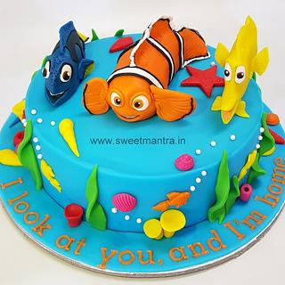 Nemo theme customized designer cake for girls birthday