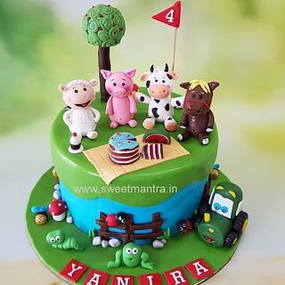 Farm animals theme customized designer fondant cake for girl's 4th birthday