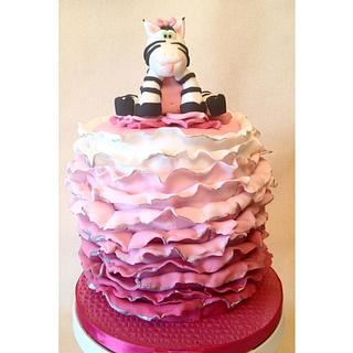Pink Ombre Ruffle Birthday Cake