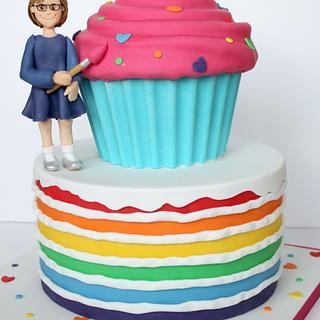Giant cupcake and rainbow cake