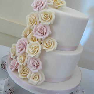 2 Tier Rose Wedding Cake