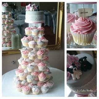 Grey and pink vintage cupcake tower