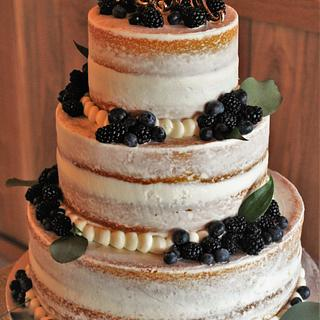 Semi naked Wedding cake with fresh berries