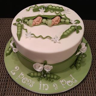 2 Peas in a Pod Baby Shower Cake