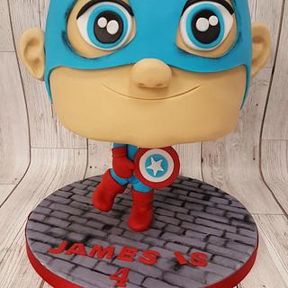 Captain america bighead cake