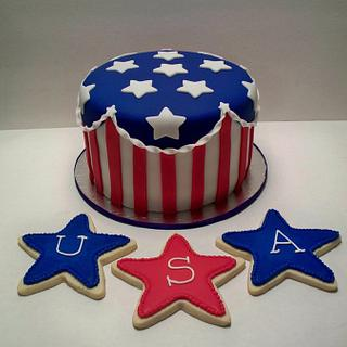 4th of July Cake and cookies - Cake by Kimberly Cerimele