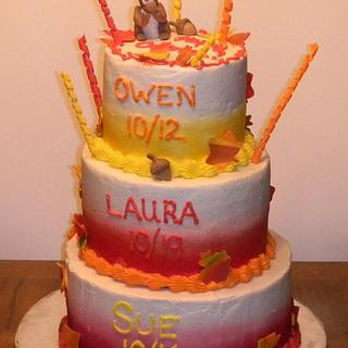 Fall Leaves with Squirrel Triple Birthday Cake