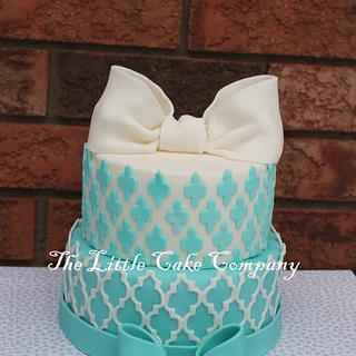 Teal Bridal shower cake