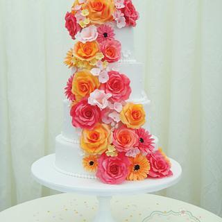 Floral Cascading Wedding Cake