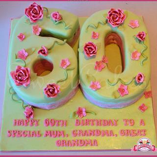 60 Shaped Birthday Cake