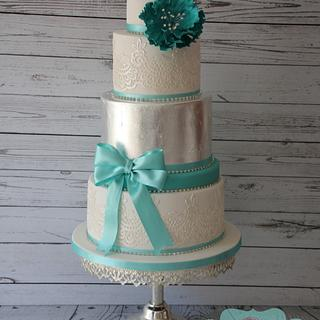 Jade green and silver vintage style wedding cake