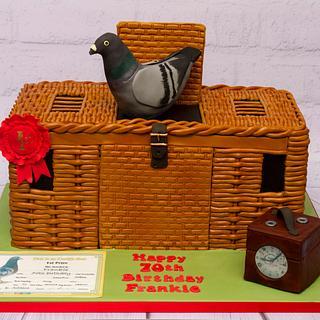 Pigeon racing basketweave cake