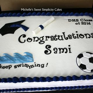 Swimming and Soccer Graduation Cake - Cake by Michelle