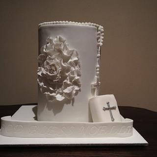 Holy communion Cake with flower detail - Cake by Dell Khalil