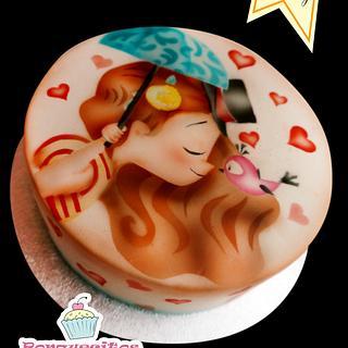 Airbrush painting cake