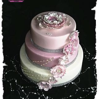 Wedding cake with ruffle flowers
