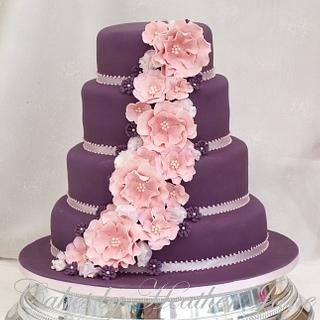 Purple & Pink ruffle Rose and Sweet pea Wedding cake - Cake by Cakes By Heather Jane