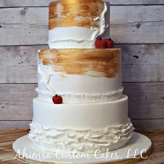 Burgundy & Gold wedding cake